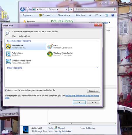 Windows 7 File Associations - Choose Program