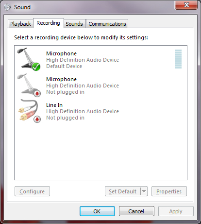 microphone settings in windows 7