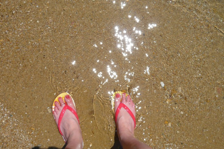 Flip flops in the sea