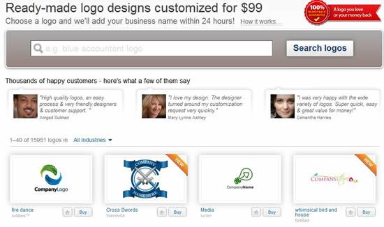 Pre-made logo gallery on 99Designs.com