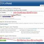 The last but one step to installing Wordpress on your Bluehost-hosted domain