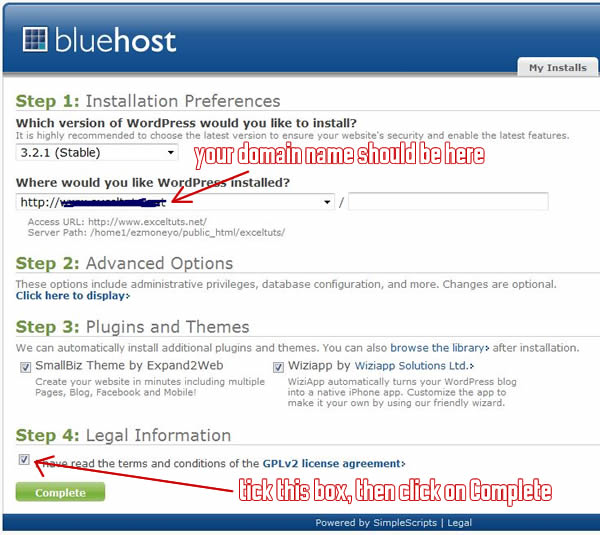 The last step to installing WordPress on your Bluehost-hosted domain